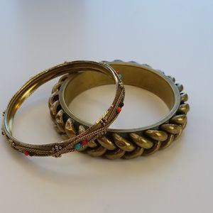 Vintage Bangle Gold Beaded Braclet Set
